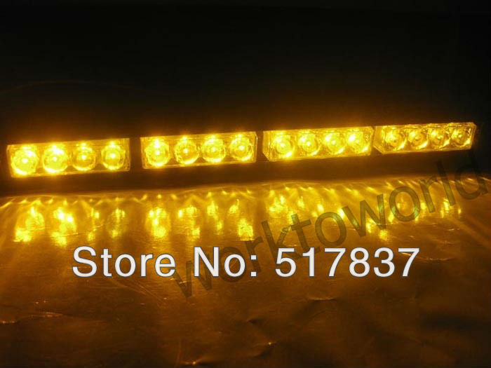 16LEDs Emergency Led Car 16W Truck Lightbar Strobe Dash Light Lamp Tow Lights Amber(China (Mainland))