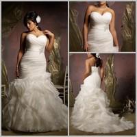 Delightful New Perfect Mermaid Plus Size Wedding Dress Sweetheart Sleeveless Appiques/Pleats Organza Bridal Gown Custom Size