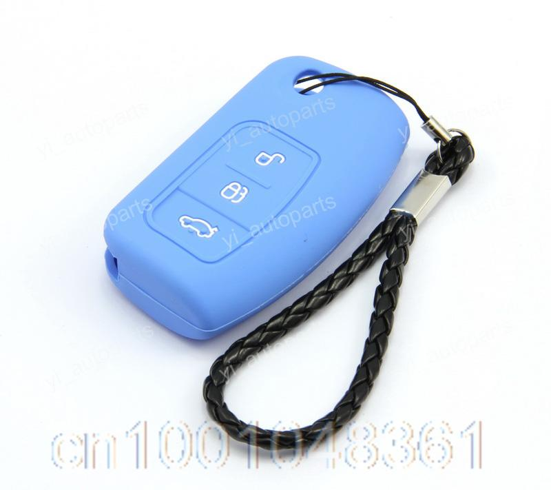 Blue Remote Silicone Flip Shell Case Cover For Ford Focus/C Max Key Protective(China (Mainland))