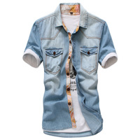 2013 men fashion denim shirt male vintage wash water short-sleeve shirt slim men clothing shirts
