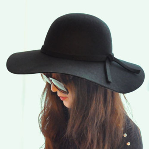 Pure woolen big waves along the cap fedoras sunbonnet fashion vintage women's fashion large brim hat(China (Mainland))