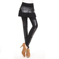Legging skirt faux two piece genuine leather legging skirt sheepskin 1306