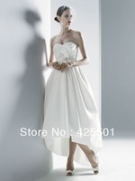 FREE SHIPPING 2013 New Simple Fashion Sweetheart Front Short Long Back Wedding Dress Actual Real Sample Bridal Gown with Train