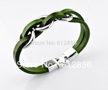 Korean version of the New Leather Bracelet Mens Casual Leather Bracelet three titanium ring wear Bracelet