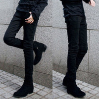 Spring male jeans trousers boys pants slim skinny pencil pants male black tights