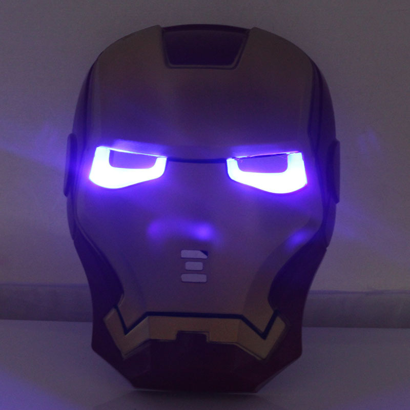 Mask Costume Iron Man Glowing LED Light Eyes Comic Cover Cosplay Halloween Party(China (Mainland))