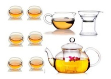 Glass Teapot with Filter 600ml 6 Double wall glass coffe tea Cup 300ml public cup glass