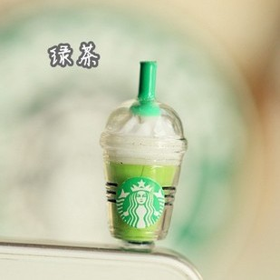 3.5mm Starbucks shaped earphone jack dust cap plug for iPhone 4G 4S 5 ipad ipod,mobile phone Jack Stopper free shipping(China (Mainland))