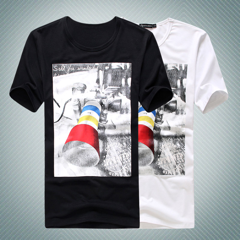 Summer men's clothing 3d camera male casual o-neck short-sleeve T-shirt male short-sleeve slim clothes male(China (Mainland))