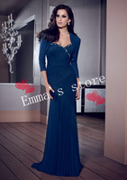 Hot Sale Custom Made Free Shipping One-Shoulder A-Line Beaded Blue Chiffon Long Mother Of Bride/Groom Dresses