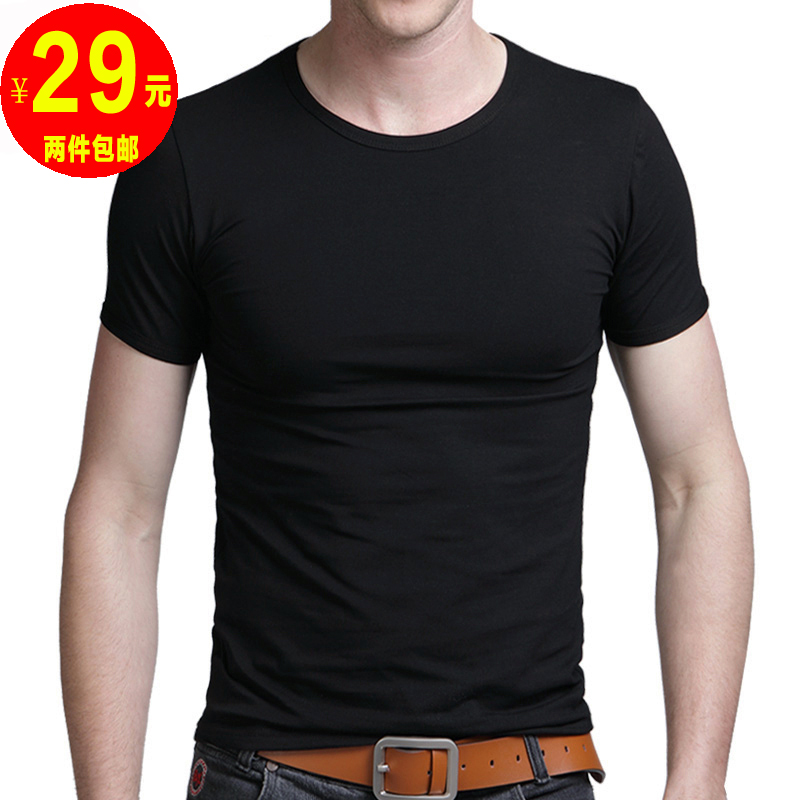 2013 summer basic shirt fashion men t-shirt solid color o-neck short-sleeve T-shirt men's clothing slim t shirt(China (Mainland))