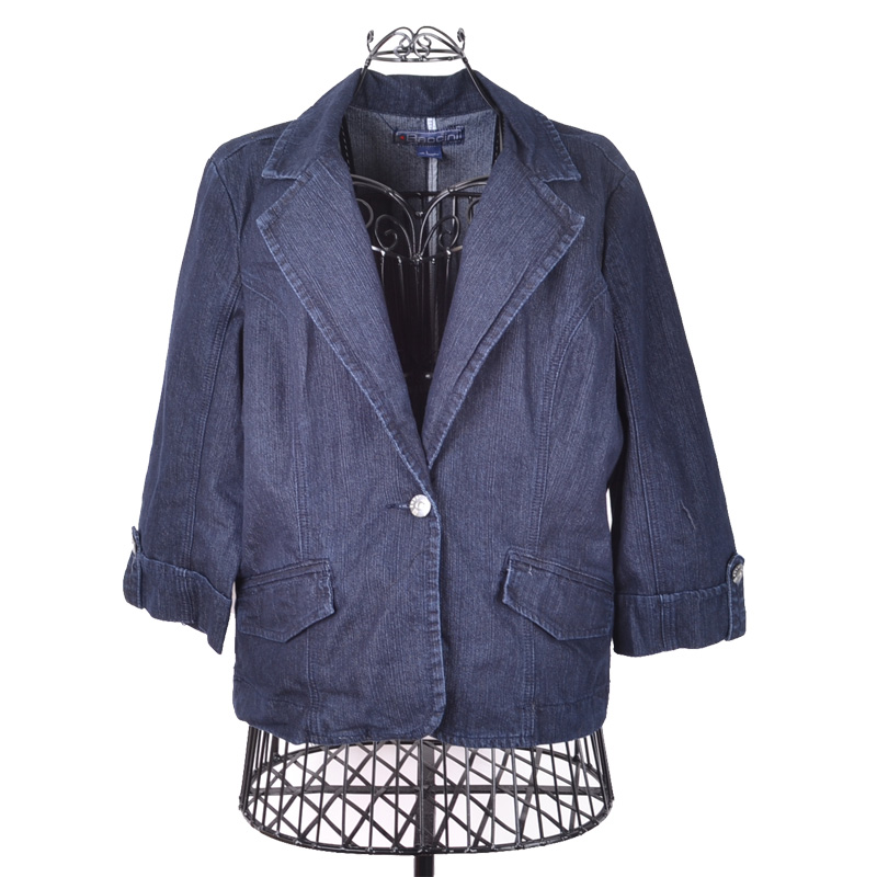 Free shipping Mm plus size clothing spring slim all-match denim suit jacket 0.5(China (Mainland))