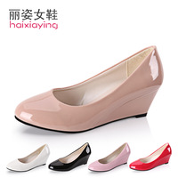 2013 spring and autumn shoes women's shoes wedges pointed toe black leather work shoes