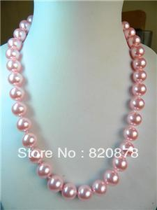 "Beautiful 8mm pink sea shell Pearl Necklace 22"" TY880(China (Mainland))"