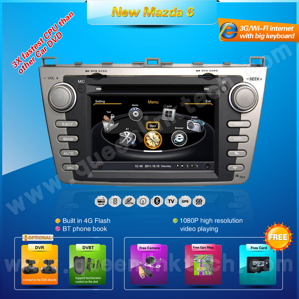 3G 7'' Mazda 6 Car DVD Player,AutoRadio,GPS,Navi,Multimedia,Radio,Ipod,DVR,Free camera+Free shipping+Free map(Hong Kong)
