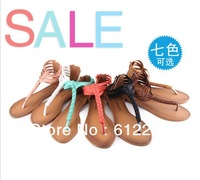 Free Shipping Summer Special New Elegant Family Name Wind T-Strap Sandals PU Braided Flat Shoes