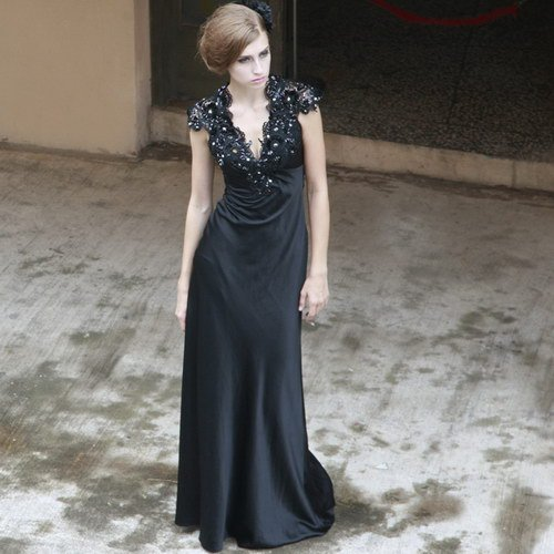 Creative fox black evening dress celebrity dress formal dress black formal dress long design 80530(China (Mainland))