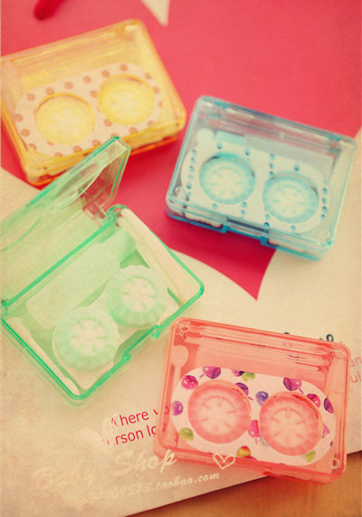 Nostalgic cassette tape paragraph contact lenses box mate box(China (Mainland))
