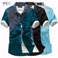 Male short-sleeve shirt slim men's polka dot patchwork shirt casual fashion summer male