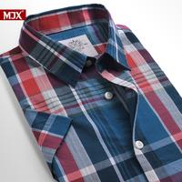 Summer new arrival mjx shirt male casual short-sleeve shirt 100% cotton plaid shirt male slim lovers