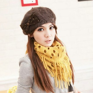 Bird nest scarf autumn and winter knitted scarf muffler cutout tassel solid color muffler scarf(China (Mainland))