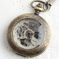 Pocket watch table vintage table transparent clamshell cutout back through the mechanical pocket watch male women's watch