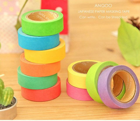 New Assorted Candy Colours Japanese paper washi tape, 15mm*10m, Blue Pink Purple Yellow Green Orange,(China (Mainland))