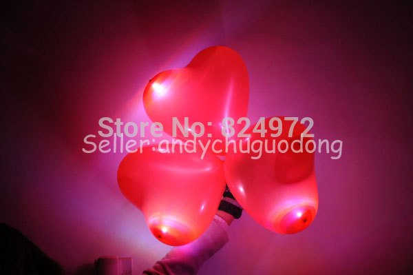 100pcs/lot Led Light Up12 inch latex Valentines Balloons12'' heart shape With CE and ROHS Red Color(China (Mainland))