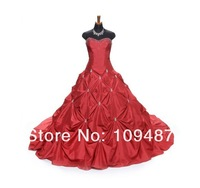 Retro red crystal beaded wedding dress exquisite pleats