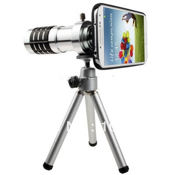 12X Optical Zoom Mobile Phone Telescope Circumscribing Lens with Tripod + Plastic Case for Samsung Galaxy S IV / i9500