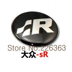 VW SR logo Crystal Car Steering Wheel Badge Emblem Sticker Golf MK4 Polo GTi Wolfsburg 45mm Free shipping
