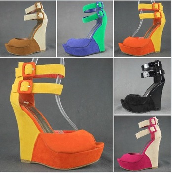 Hot selling brand 2013summer new style flock 13 wedge platform pumps woman sandals  black 5 color size36-41 retail