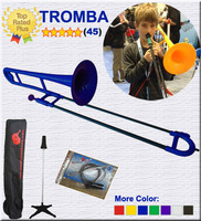 New! Plastic Trombone - BLUE