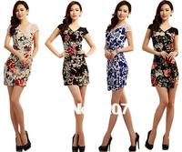 Sexy V-Neck Printed Vintage Dress Plus Size XXL Knit Cotton Bead bodycon Dress Club Wear Pencil Dresses