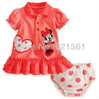 minnie mouse childrens clothing dress suit 2 pcs sets girl's tops shirts tutu dress + pants underwear set whole suits outfits
