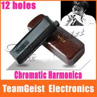 Senior harmonica Chromatic 12 holes genuine WH12 ABS matte surface arc-shaped mouthpiece matt black Free Shipping
