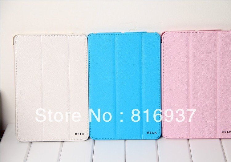 2012 Newest Intaly BELK Magnetic Leather Case For iPad Mini,Thin standing leather smart cover,Free shipping(China (Mainland))