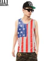 2013 Quality Men's Trendy USA Flag Hip Hop Soft Tank Top, Casual Cotton O-neck Vest T-shirt Black  White grey 033