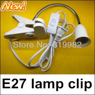 2pcs/lot, 30cm Flexible E27 Lamp Holder with switch and clip, desk lamp holder, table light clip holder, free shipping(China (Mainland))