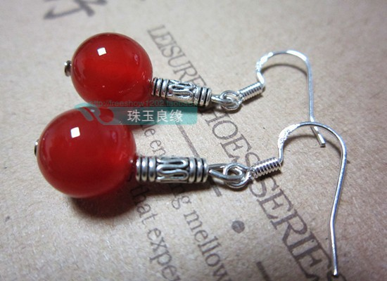 Handmade pure silver 925 natural jade crystal agate earrings red national trend accessories lucky(China (Mainland))
