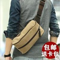 Free Shipping New Korean Fashion Casual Canvas Bags Man Shoulder Bag Messenger Bag Small Chest Men's Backpack Black Gray Khaki