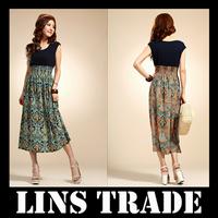 Free shipping New bohemian women's dress ladies sleeveless vest chiffon long dress #8216