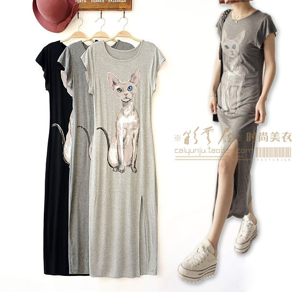 Free shipping 2013 new female cat with blue eyes of euramerican style pattern long round collar short sleeve clothes are skirt(China (Mainland))