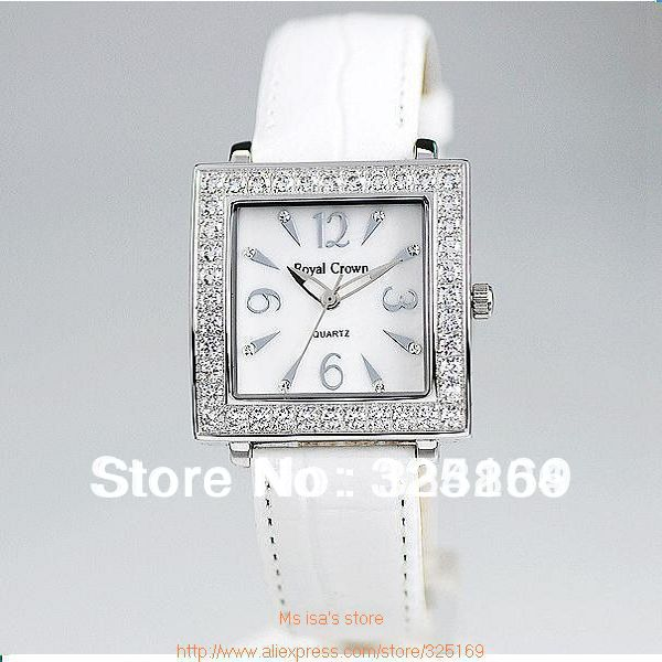 Factory direct sales Royal crown 3637 modern, fashion ,artistic, natural and practical design white leather watch Free Shipping(China (Mainland))