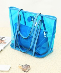 Free shipping girls summer 2013 female handbag one shoulder transparent jelly bag personalized student school big(China (Mainland))