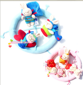 Free Shipping 5Pcs/Lot Chicco Baby Toys Hanging Bed Toy Cartoon Animals Rattles