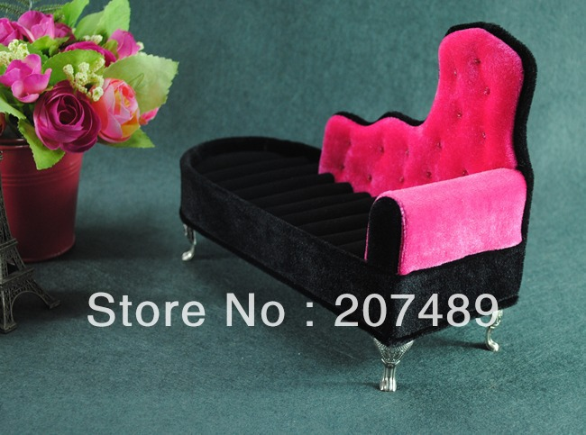 wholesale princess lovely sofa velvet jewellery box case organizer storage display for earring ring necklace for gift wedding(China (Mainland))