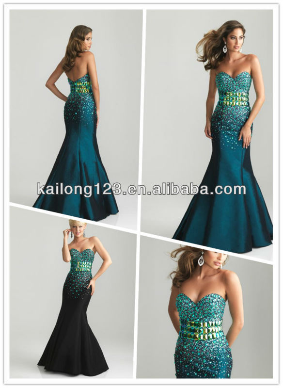 Slim Fit and Flare Long Floor-length Sweetheart Beaded Stones Bodice Black Teal Taffea Mermaid Evening Dress(China (Mainland))