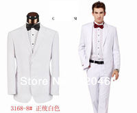 Free Shipping, Name Brand Designer Men Wedding Suit White, Top Luxury Design High Quality