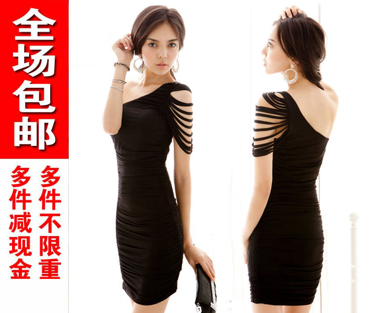 2013 summer oblique sexy ol elegant slim hip sexy formal dress slim one-piece dress(China (Mainland))